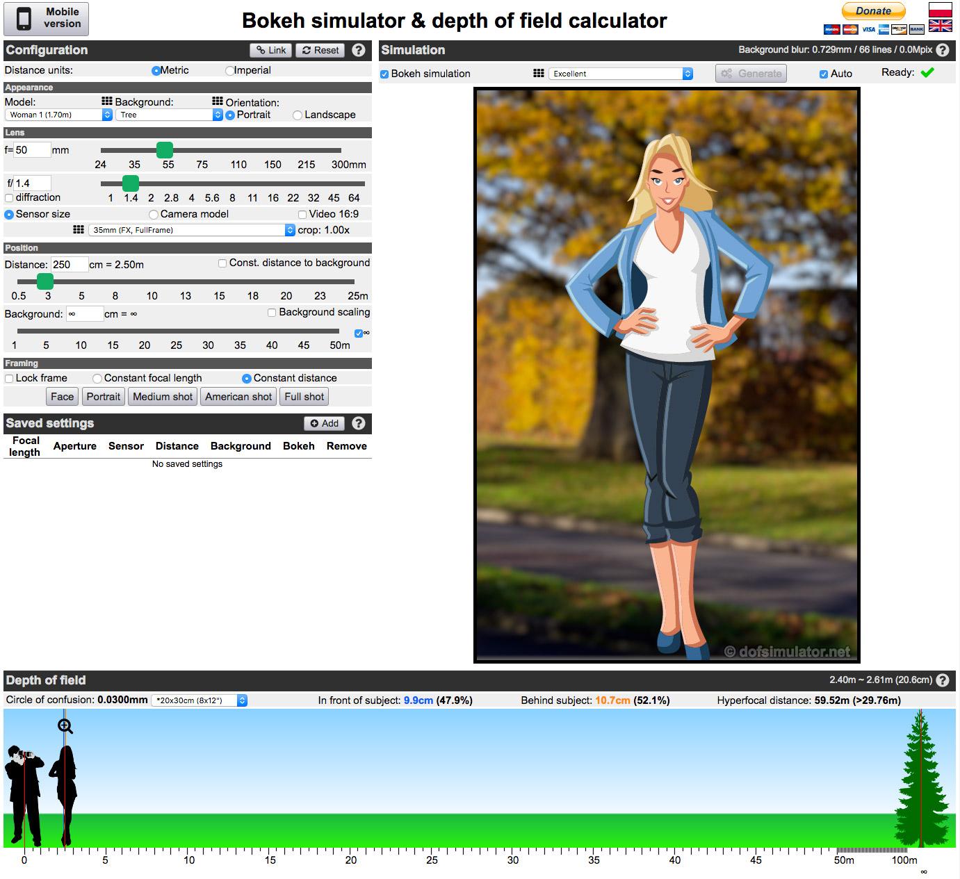 """Im Screenshot ein Beispiel wie das Bokeh bei verwendeter Vollformat-Kamera, 50 mm Brennweite, Blende 1.4 und zweieinhalb Meter Abstand zum Model aussieht. Weitere hilfreiche Anzweigen (ganz unten im Bereich """"Depth of field""""): Schärferbeich vor dem Fokuspunkt entspricht 9,9 cm und dahinter 10,7 cm. Die Schärfentiefe reicht also von 2,40 m bis 2,61 und entspricht 20,6 cm."""
