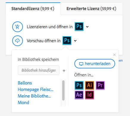 Auf der Homepage von Adobe Stock lässt sich ein Bild direkt mit einem Klick lizenzieren (alternativ auch nur eine Vorschau mit Wasserzeichen) und in der gewünschten Adobe App öffnen.